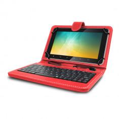 Husa tableta model X cu tastatura MRG, MicroUSB, 10 inch, Rosu C405 foto