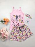 Cumpara ieftin Pijama dama ieftina bumbac primavara vara cu maieu roz deschis si pantaloni scurti roz cu imprimeu BB & personaje