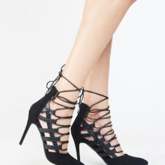 NOU Pantofi dama cu toc stiletto negri cu siret 36