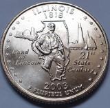 Monedă 25 cents 2003 USA, Illinois, unc, litera P,, America de Nord