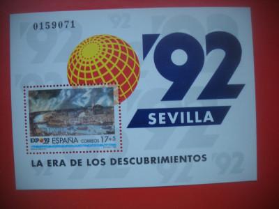HOPCT TIMBRE MNH 950 SPANIA SEVILLA 1992 ERA DESCOPERIRILOR  COLITA DANTELATA foto
