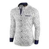 Camasa pentru barbati alba flex fit cu model Soiree d automne