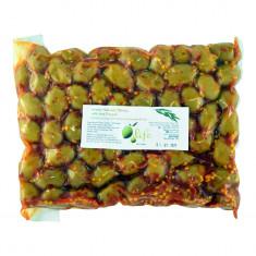 Măsline verzi Halkidiki cu ardei iute, 1kg