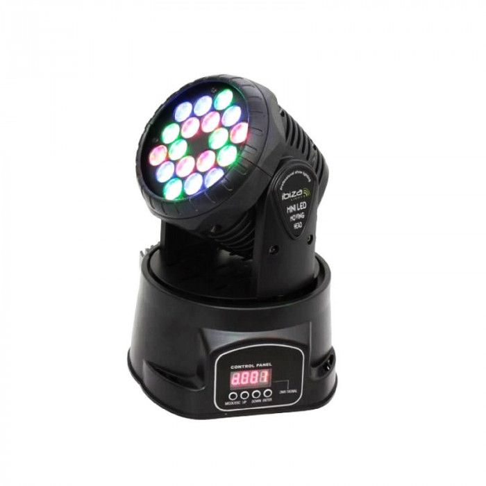 Moving head, 18 LED-uri multicolore, 18 x 3 W
