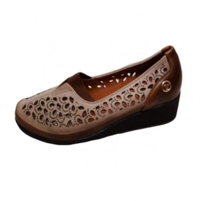 Pantof confortabil de primavara-vara, nuanta maro, cu perforatii foto