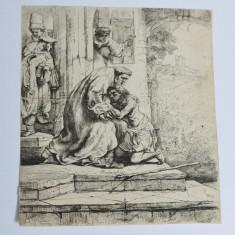 "Rembrandt ""Intoarcerea fiului risipitor"" gravura veche"