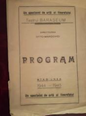 Program teatru evreiesc Bara?eum, stg. 1944 - 1945, dir. Otto Marcovici, iudaica foto