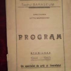 Program teatru evreiesc Barașeum, stg. 1944 - 1945, dir. Otto Marcovici, iudaica