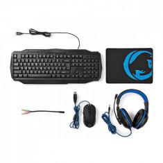 Kit Gaming cu fir 4-in-1 tastatura, casti, Mouse si Mouse Pad, Nedis