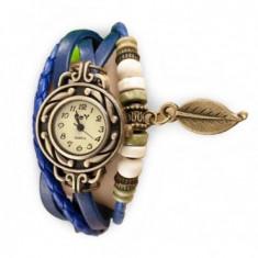 Ceas de dama Retro Vintage, curea din piele, accesoriu frunza,Blue