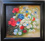 Tablou cos cu flori semnat Cimpoesu., Ulei, Realism