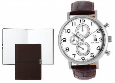Set CEAS ELECTION CLASSIC TRADITIONAL CHRONO BROWN si Note Pad Burgundy HUGO BOSS foto