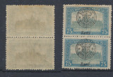 ROMANIA 1919 emisiunea Oradea Parlament 75 Bani cu i invers - Ban! pereche MNH