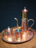 Elegant serviciu de ceai cu infuzor din cupru cu alama masiva