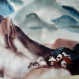 """peisaj-""""Iarna pe valea Bistritei""""-acuarela de Iulia Halaucescu-60/74 cm"""