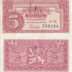 1949 ( 25 I ), 5 korun ( P-68a ) - Cehoslovacia - aUNC