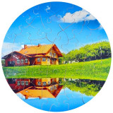 Puzzle personalizat cu poza si text, forma rotund, 42 piese