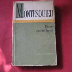 MONTESQUIEU - DESPRE SPIRITUL LEGILOR (vol. 1)