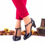 Pantofi dama eleganti din piele naturala ,negri si piele naturala lacuita toc 5cm - NAA9B, 35 - 40, Negru
