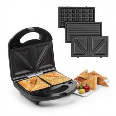 Klarstein Trilit 3 v 1, sandwich-maker, 750 W, plăci de grătar, LED, suprafață antiaderentă, negru