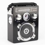 Radio portabil cu ceas, lanterna, FM, AM, SW, MP3, TF SD, USB, negru, Waxiba