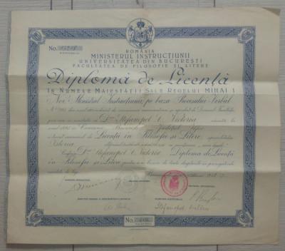 Diploma de licenta Facultatea de Filosofie si Litere Bucuresti/ 1928, Mihai I foto