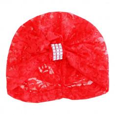 Turban rosu din dantela