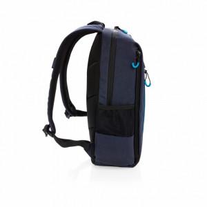Rucsac Laptop 15 inch, RFID, mufa usb, buzunare laterale, XD by AleXer, LA, poliester, albastru navy, breloc inclus