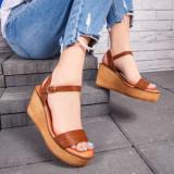 Sandale dama maro cu platforma Ledisa