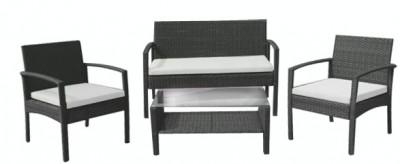 Set mobilier terasa,gradina RAKI PARA din ratan 4 piese masa, canapea si 2 scaune cu brate culoare cafea foto