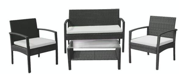 Set mobilier terasa,gradina RAKI PARA din ratan 4 piese masa, canapea si 2 scaune cu brate culoare cafea