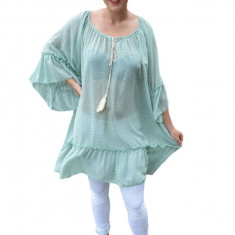 Bluza vaporoasa dama,imprimeu de cercuri mici verzi, pe fond alb