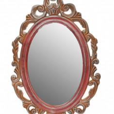 Oglinda de perete, ovala, din lemn, vintage, retro, cu model - 27454