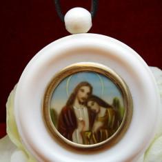 MEDALION VECHI XXL FILDES NATURAL,PICTURA MANUALA. TEMA RELIGIOASA
