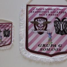 Fanion fotbal RAPID BUCURESTI-PAOK SALONIC (UEFA CUP 01.12.2005)-fanionul mic
