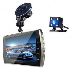 """Camera Video Auto DVR Dubla FullHD Techstar® T667 Unghi 170° Display 4"""", Senzori Miscare si Night Vision"""