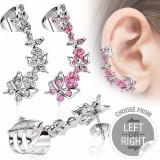 Piercing fals pentru ureche, fluturi și flori cu zirconiu - Formă piercing: Dreapta, Culoare zirconiu piercing: Roz - P