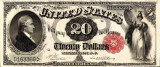 20 dolari 1880 Reproducere Bancnota USD , Dimensiune reala 1:1
