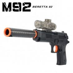PROMOTIE! PISTOL AIRSOFT BERETTA M92 CU AMORTIZOR 3in1,CALIBRU 6MM+500 BILE.NOU!