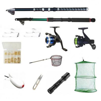 Set pescuit sportiv cu 2 lansete 2,4m, doua mulinete cu rulmenti, minciog, spomb, ace, juvelnic, lanterna led foto