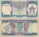 1989 (20 IV), 500 Cedis (P-28b.1) - Ghana
