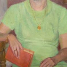 Tablou vechi-Doamna cu cartea-Eustatiu Stoenescu