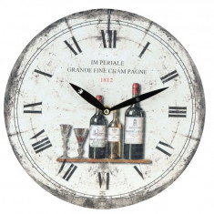 Ceas de perete alb cu model sticla de vin model