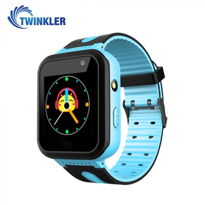 Ceas Smartwatch Pentru Copii Twinkler TKY-S7 cu Functie Telefon, Localizare GPS, Camera, Lanterna, SOS, IP54, Joc Matematic - Albastru, Cartela SIM Ca