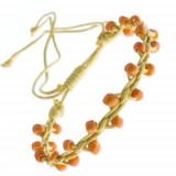 Brățară a prieteniei galbenă - mărgele lucioase portocalii