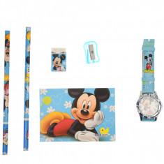 Set ceas, pentru copii, cu Mikey Mouse, caiet si rechizite cadou - 5020630