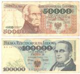SV * Polonia   LOT   50000 + 100000  ZLOTI / ZLOTYCH  1989 - 1990        F+ / VF