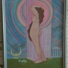 """Tablou """"Nud antic I"""", pictat in culori acrilice, 42,5x32,5 cm, cu rama din lemn"""