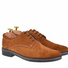 Pantofi barbati casual din piele naturala intoarsa maro - PAVELM