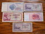 Iugoslavia Lot nr.1 - 5 Bancnote 10,20,100,5000 Dinari 1974 - 1990